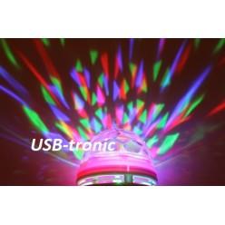 Цветомузыкальная вращающаяся диско лампа RGB цветомузыка Красный корпус