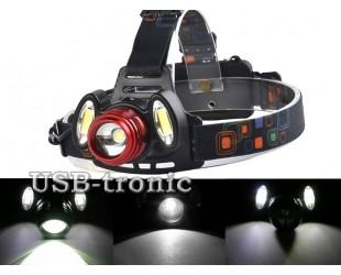 Мощный аккумуляторный налобный фонарь HL-150 с 3 светодиодами (1 шт  Cree T-6 +2 шт COB)