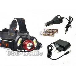 Мощный светодиодный аккумуляторный налобный фонарь HL-150 Red