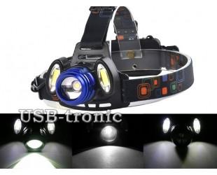 Мощный аккумуляторный налобный фонарь HL-150-b с 3 светодиодами (1 шт  Cree T-6 +2 шт COB)