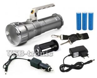 Аккумуляторный ручной фонарь прожектор MX-1818-T6 Мощный светодиод Cree T6 3 x 18560 Металлический корпус
