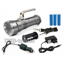 Светодиодный аккумуляторный фонарь с ручкой HL-677 3 x 18560 Металл