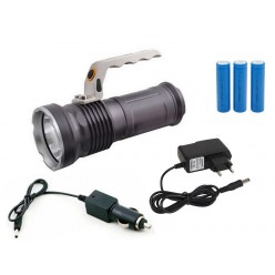 Ручной светодиодный аккумуляторный фонарь 3 батарейки Металлический корпус