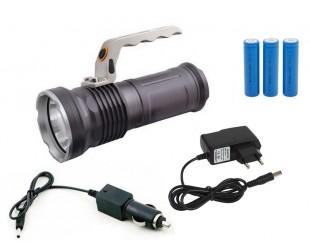 Ручной светодиодный аккумуляторный фонарь 3 батарейки Металлический корпус Цена 1099 рублей
