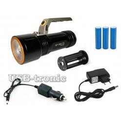 Светодиодный фонарь с ручкой QF-688-T6 3 аккумулятора 18650 Металл
