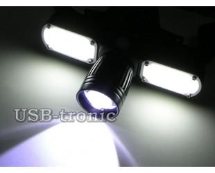 Светодиодный налобный фонарь MX-626-T6 имеет 3 фары питание от 2 аккумуляторов 18650