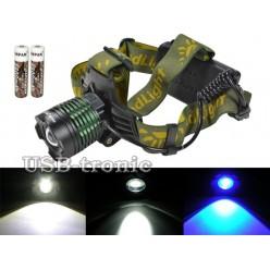 Многоцветный светодиодный налобный фонарь YT-K12-2 аккумуляторный блок на 2 батарейки 18650