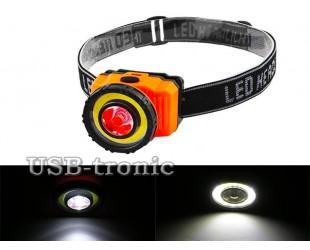 Налобный светодиодный фонарь NF-T838 COB 3W+1W Led с 3 батарейками 1,5B АAA