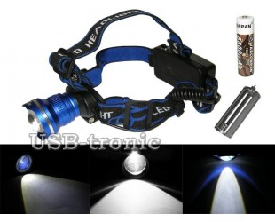 Налобный фонарь MX-T07 с универсальным питанием 1 аккумулятор 18650 или от 3 батареек ААА