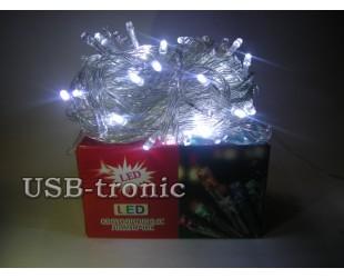 Гирлянда 200 LED светодиодная белый провод
