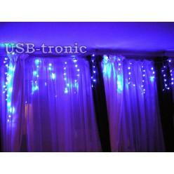 """Гирлянда MC """"Бахрома 20-30 см""""  100 LED Синий свет. Прозрачный провод 3 метра"""