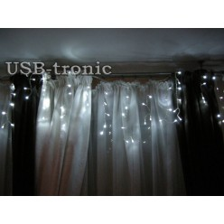 "Гирлянда W ""Бахрома"" 20-30 см. 160 LED Белый свет. Прозрачный провод 3 метра"