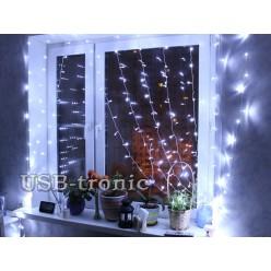 Новогодняя гирлянда Занавеска из светодиодного дождя 1.5х1.5 Белый цвет