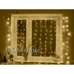 Новогодняя гирлянда теплая белая Занавеска из светодиодного дождя 1.5х1.5 метра
