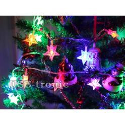 Светодиодная гирлянда нить Мерцающие Звезды 3 см 20 шт Цветные