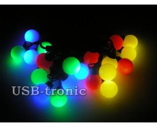 Уличная гирлянда Цветные светодиодные шарики 2 см черный провод