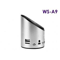 Мини колонка c FM приемником Wster WS A9 с радио и MP3 (серебро)