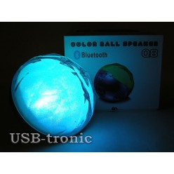 Колонка Bluetooth c USB Q8 Цветомузыка Silver