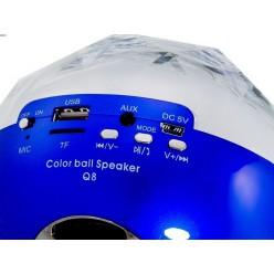 Колонка Bluetooth Цветомузыка Q8 c USB Синяя