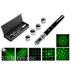 Лазерная указка green с 5 насадками
