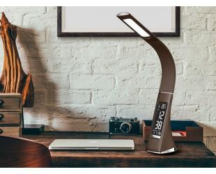 Настольная лампа светодиодная Business Desk Lamp Корпус из коричневой кожи с календарем, термометром и часами