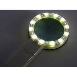 Мощная 10 кратная лупа с подсветкой линза 80 мм ZB-7790-12A