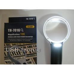 Увеличительная лупа с подсветкой TH-7016 линза 75 мм 10 кратная