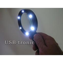 Увеличительная ручная лупа с подсветкой Magnifier ZB666-075 линза 75 мм Кратность x5