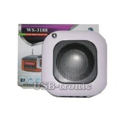 Мини FM приемник с MP3 плеером с USB-TF входами WS-3188. Черный