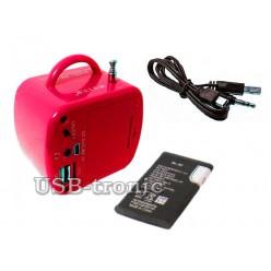 Радиоприемник с мп-3 плеером WS-575. 5 см х 5 см. Красная.