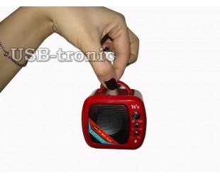 Красная мини колонка с флешкой и радио Wster WS-575
