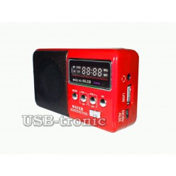 "Mini колонка с радио и мп3 плеером ""Кроха"".  WS-239 9 см х 5 см. Красный корпус."
