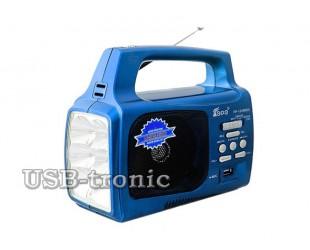 Синий портативный радиоприемник для дачи с фонарем и мп3. EPE FP-1329