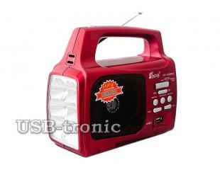Синий переносной радиоприемник для дачи с фонарем и MP3 EPE FP-1329
