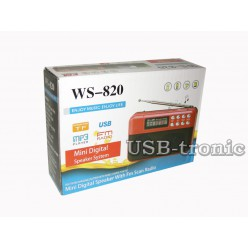Мини радиоприемник с MP3 и USB входом WS-820 Красный