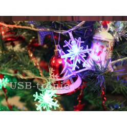 Светодиодная гирлянда нить Мерцающие Снежинки 3 см 20 шт Цветные