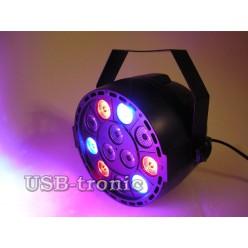 Стробоскоп цветной Mini Flat Par Light 12 LED для дискотеки
