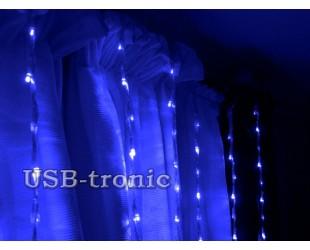 "Светодиодная гирлянда водопад на окно ""Синий дождь"" 2 на 2 метра"