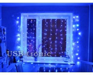 """Синяя гирлянда """"Световой занавес дождь"""" на окно 2,0 х 2,0"""