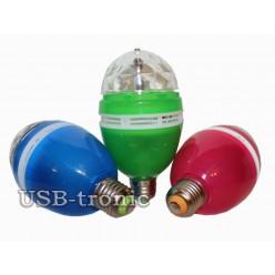 Трехцветная светодиодная диско лампа цветомузыка Синий корпус