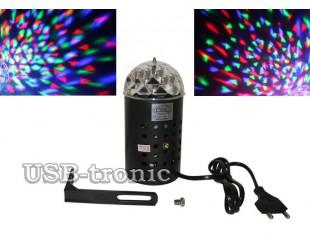 Цветомузыкальная диско лампа трехцветная с креплением