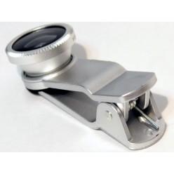 Набор объективов для телефона 3 в 1 - серебристый