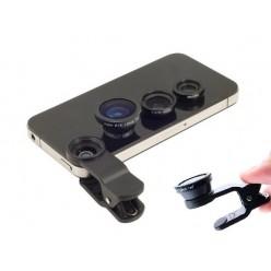 Набор объективов для телефона 3 в 1 Черный пластик.