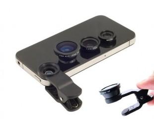 Линзы для камеры телефона 3 в 1  Черный цвет.