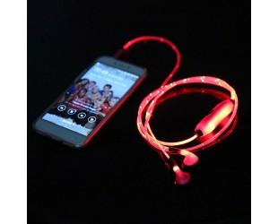 Светодиодные наушники с LED подсветкой красного цвета