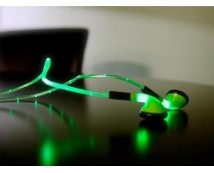 Наушники светящиеся в темноте LED Зеленый
