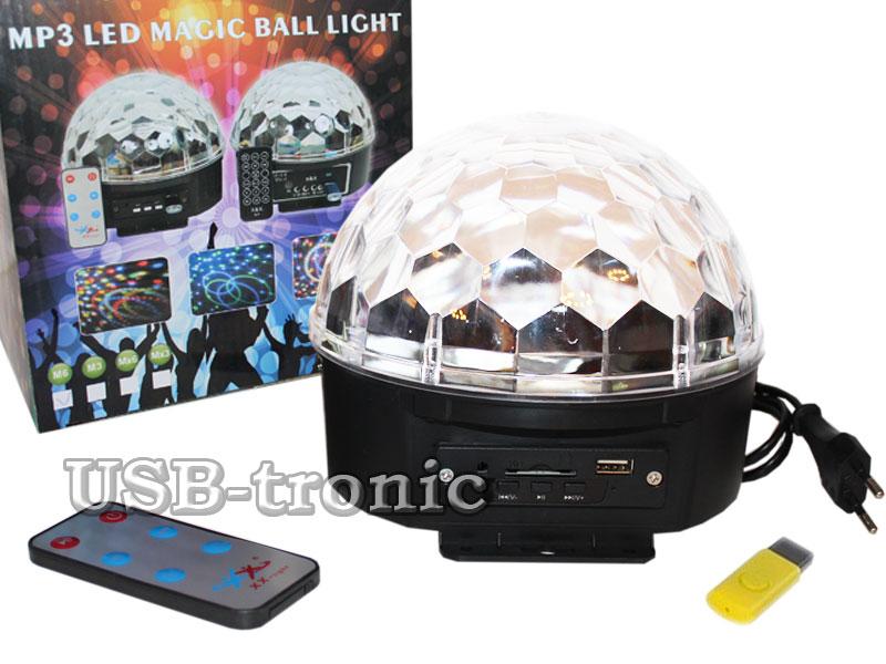 Цветомузыкальный диско шар с МП-3 для USB и CD карт led magic ball light диско