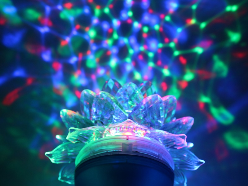 Вращающаяся led лампа цветомузыка
