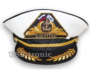 Белая фуражка капитана с золотым шитьём универсальный размер: 54-60