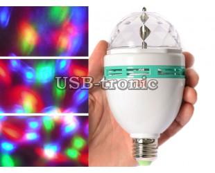 Трехцветная диско-лампа вращающаяся цветомузыка Led Full Rotating Lamp
